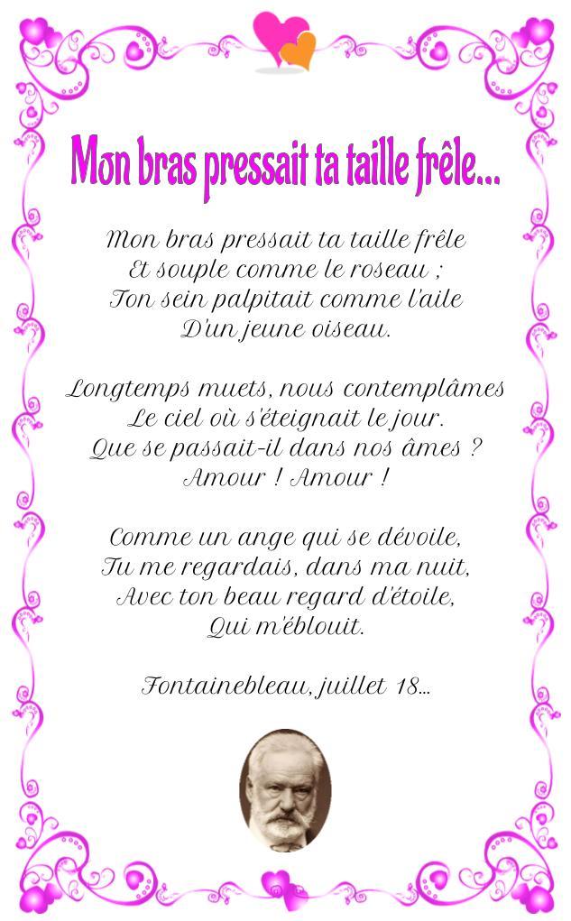 Poème de Victor Hugo : Mon bras pressait ta taille frêle...