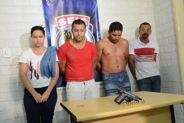 Quatro envolvidos em explosão de banco no interior do MA são apresentados na Seic; assalto rendeu R$ 80 mil à quadrilha