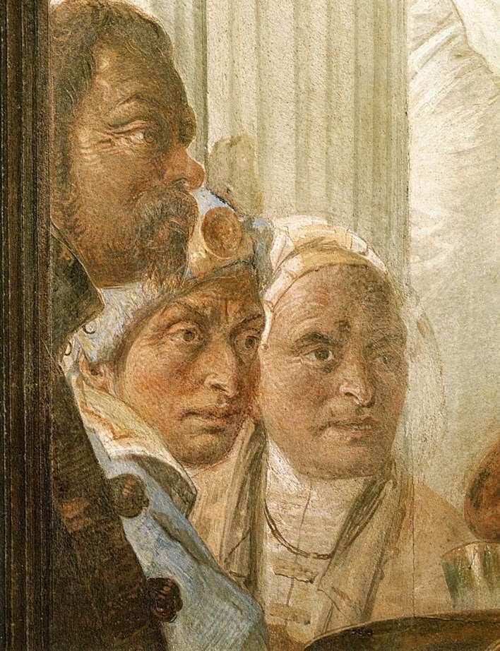 Detail of Tiepolo's self portrait in his fresco of the Banquet of Cleopatra, Sala di Ballo, Palazzo Labia, Venice