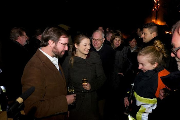 Hereditary Grand Duke Guillaume and Hereditary Grand Duchess Stéphanie of Luxembourg participated in the annual traditional ceremony of Buergbrennen