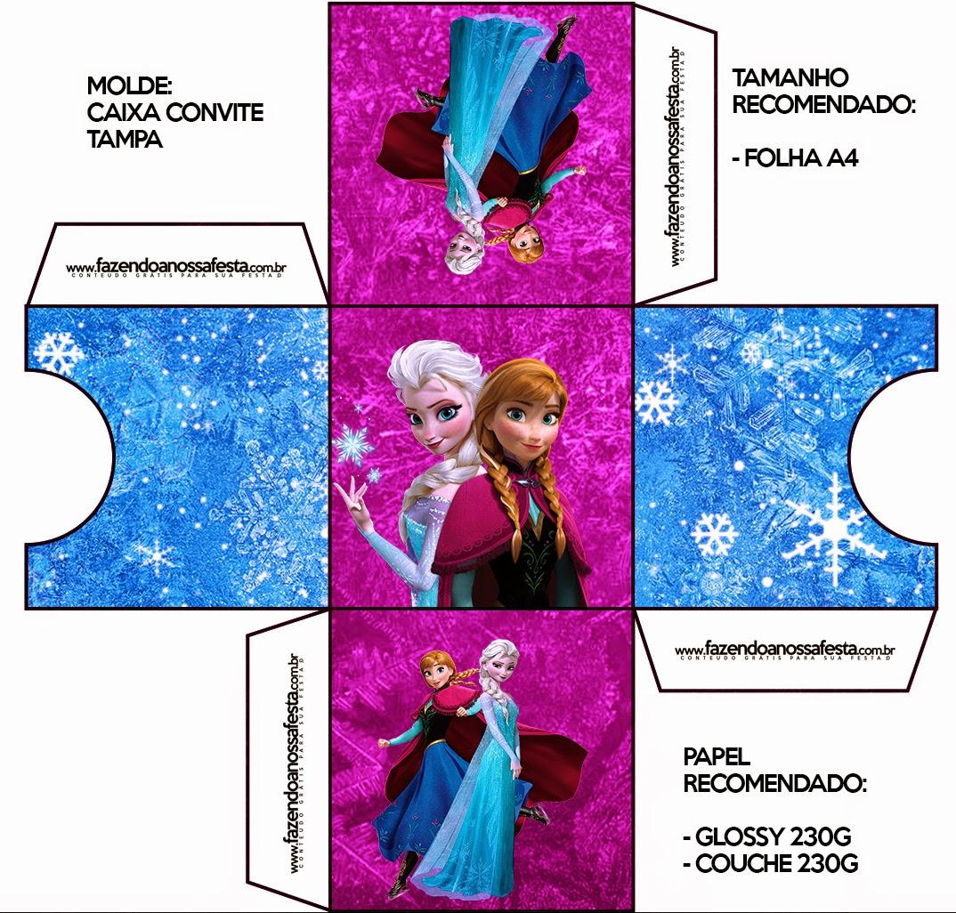Caja invitacion de Frozen Azul y Purpura.