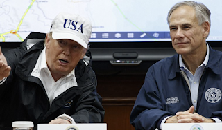 'It's historic, it's epic, but I tell you Texas can handle anything': Trump and Melania lift spirits with visit to Corpus Christi as worst rainfall in American history brings Lone Star State to its knees