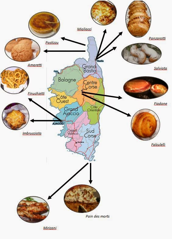 Carte des spécialités corses par région