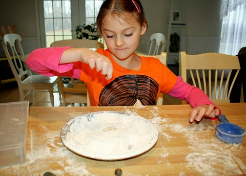 "Tessa had a little bit too much fun making ""moon craters"" by dropping rocks of various sizes into a tin of flour. She learned the size and height from which a rock is dropped effects the size and depth of the resulting crater."