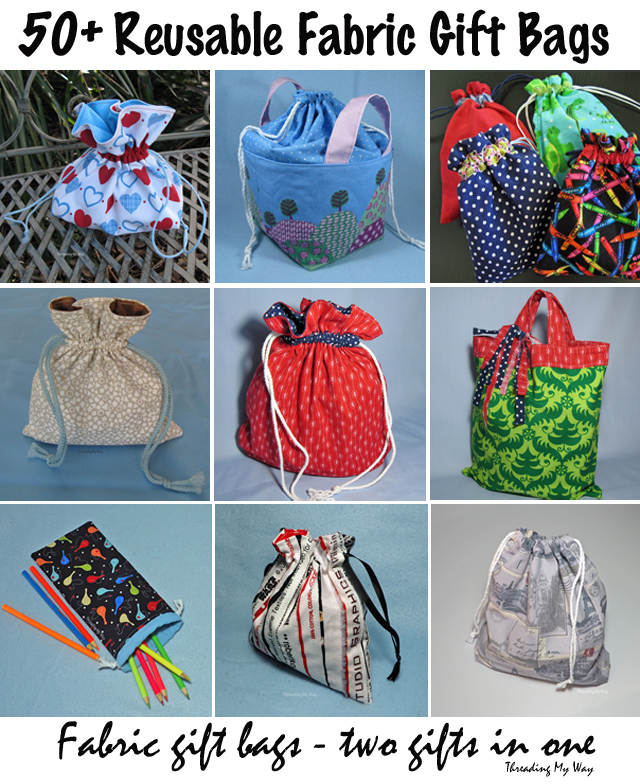 Learn how to use fabric to make reusable wrapping bags. Tutorials at Threading My Way