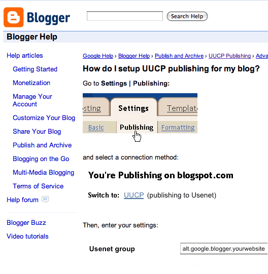 Blogger UUCP publish help pages