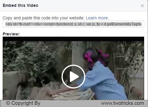 Embed Facebook Video in Website