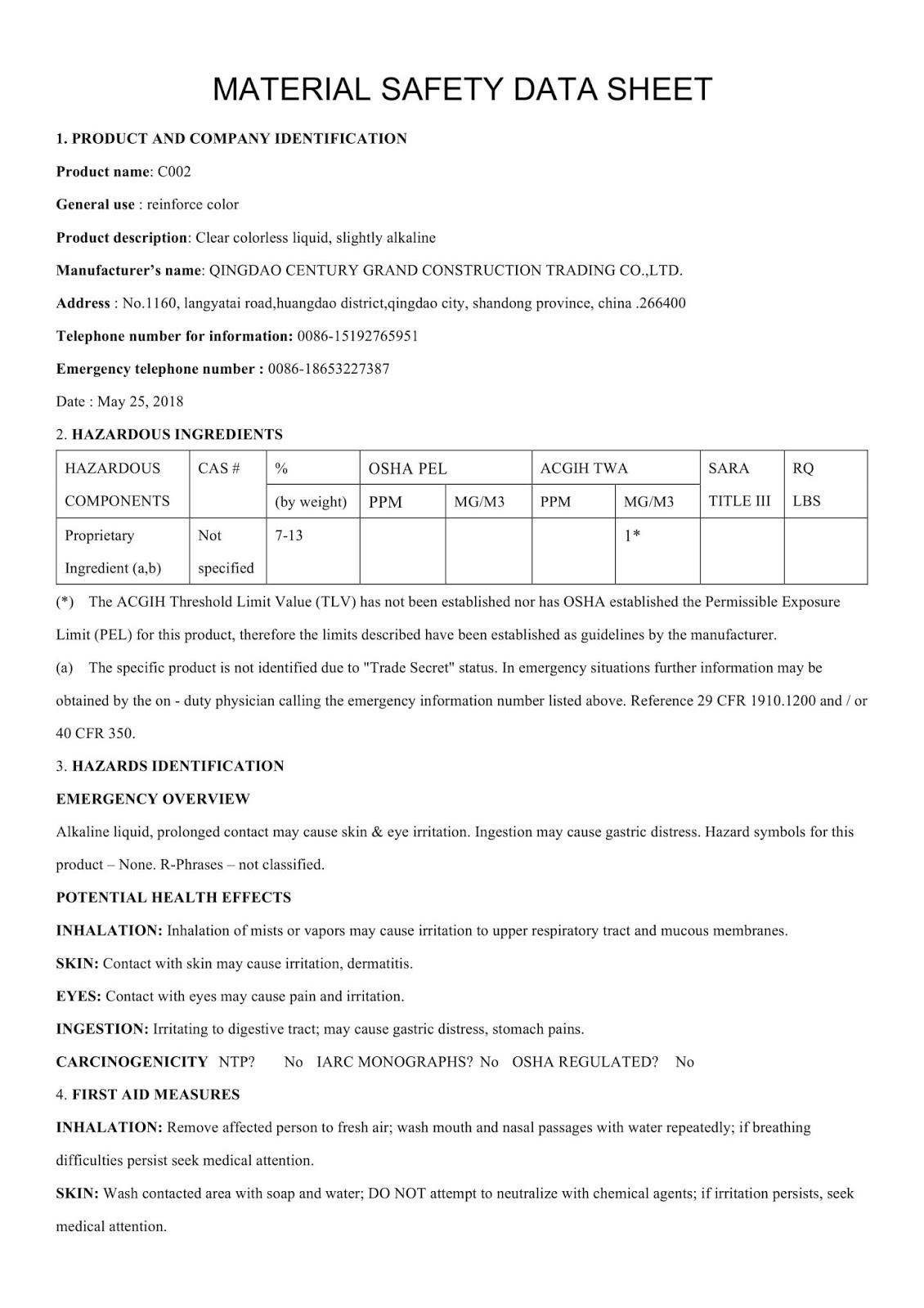 MSDS - Chất nhuộm màu cho sàn bê tông DG C002 - Trang 1