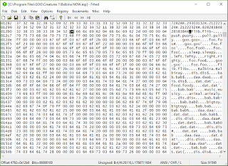 Screencap of C1 Norn .exp file opened in a hex editor.