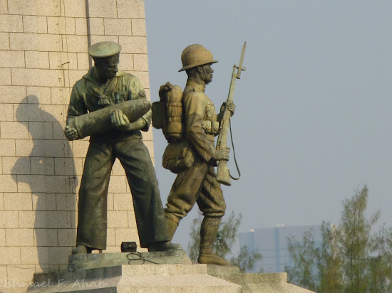 Statues of soldiers on Victory Monument in Bangkok