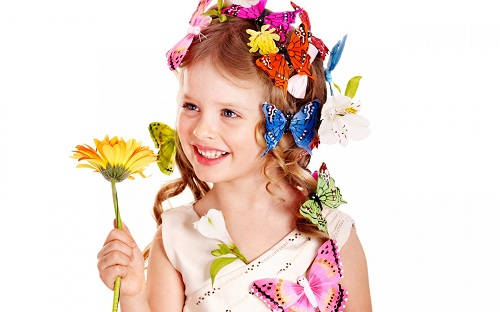 Smiling Baby Girl with Butterfly & Flowers