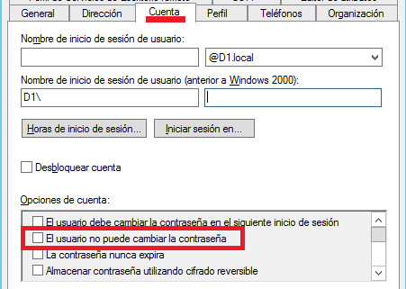 Active Directory: Usuario no puede cambiar password