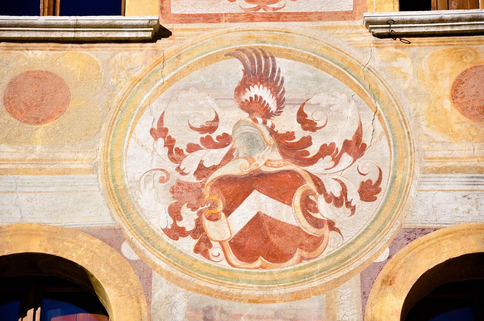 Close-up of a painted house, Feltre, Veneto, Italy