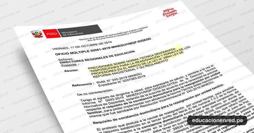 OFICIO MÚLTIPLE 00061-2019-MINEDU/VMGP-DIGEDD - Precisiones sobre la Norma Técnica para Reasignación y Permuta 2019 - www.minedu.gob.pe