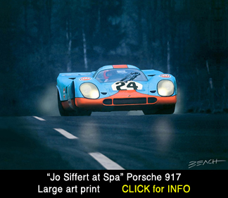 Siffert Porsche 917 art print, reproduction for sale, beacham owen, beach