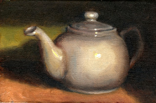Oil painting of a white porcelain teapot.