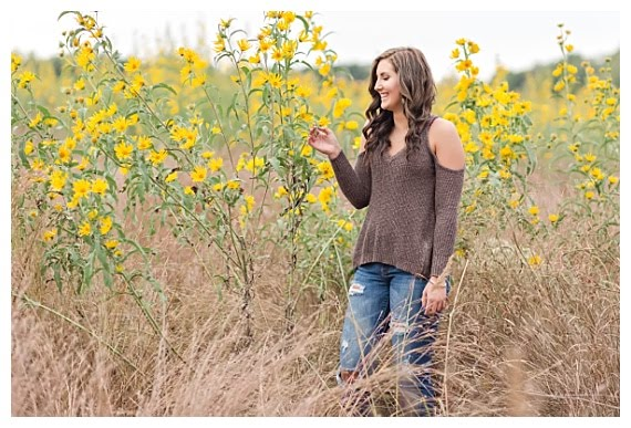 Flower field senior photography