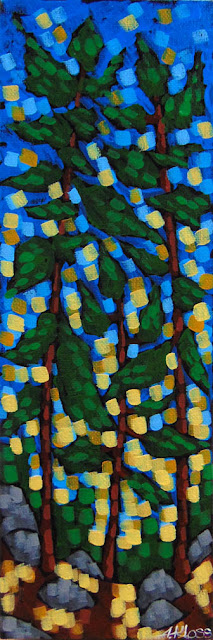 Sublime Pines acrylic painting by duluth artist aaron kloss, painting of white pine, pointilism, siiviis gallery
