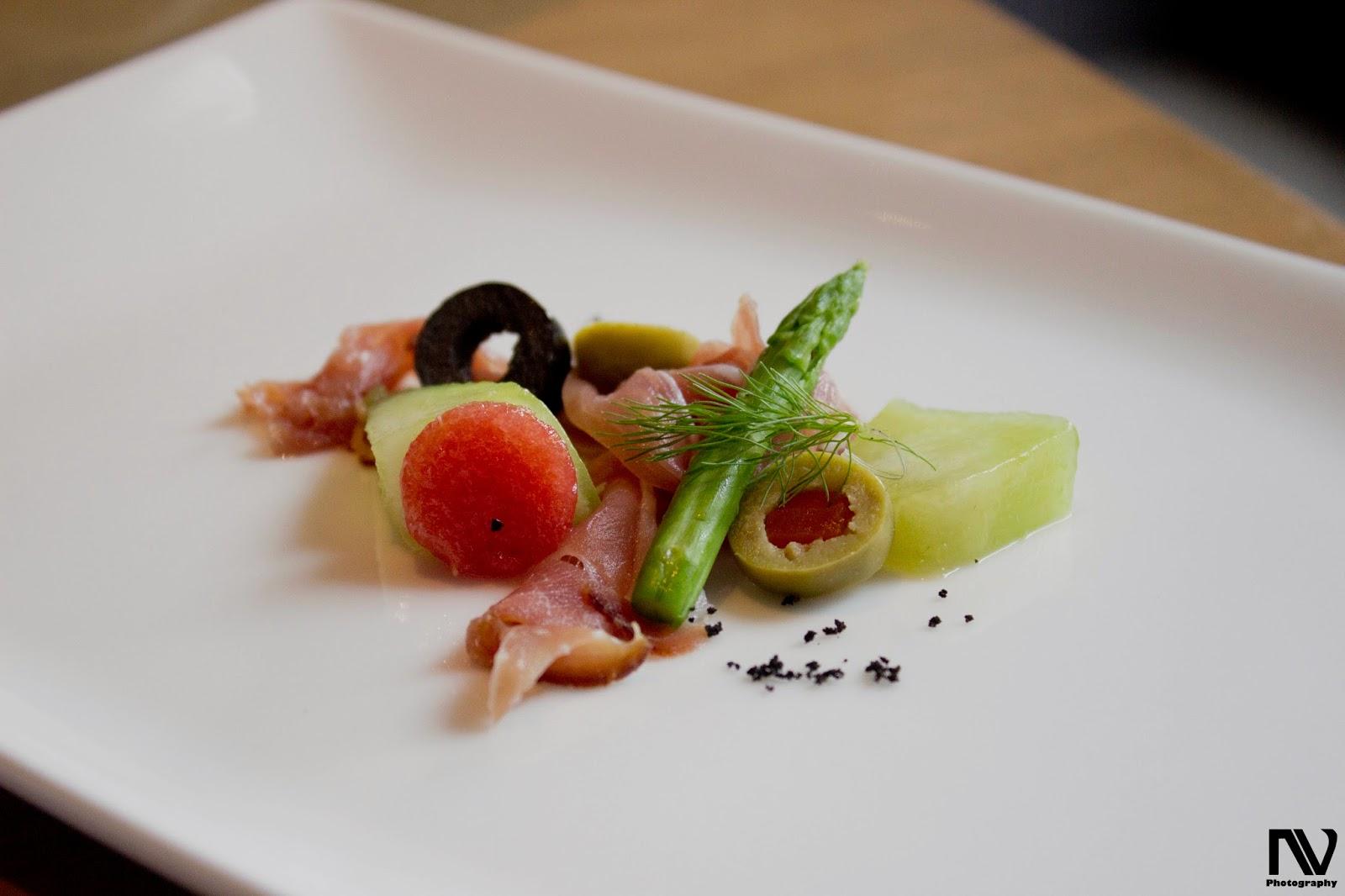 Japanese melon wild arugula german ham