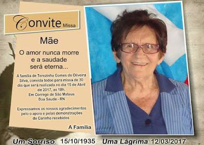 Terezinha Gomes, Missa de 30 dias