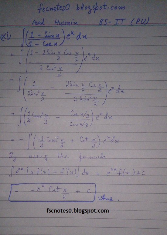 FSc ICS Notes Math Part 2 Chapter 3 Integration Exercise 3.4 Question 5 by Asad Hussain 4