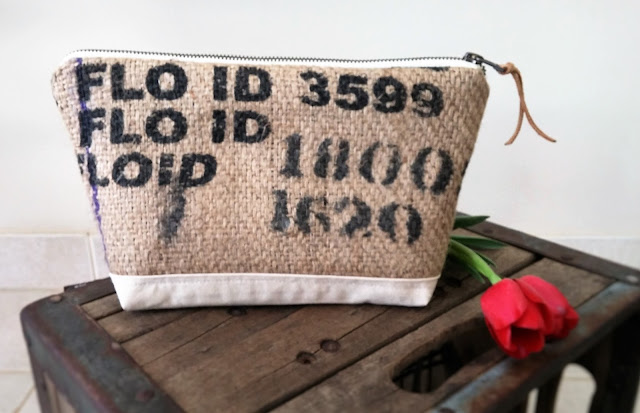 Lilac burlap cosmetic bag by Lina and Vi