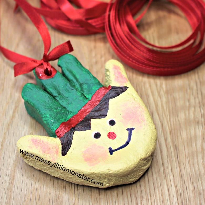 Christmas crafts for kids. Salt dough handprint ornaments. Elf craft.