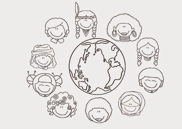 Dibujo De Nacionalidades Para Colorear: Recursos Para Mi Clase: NIÑOS DISTINTAS RAZAS (FICHA