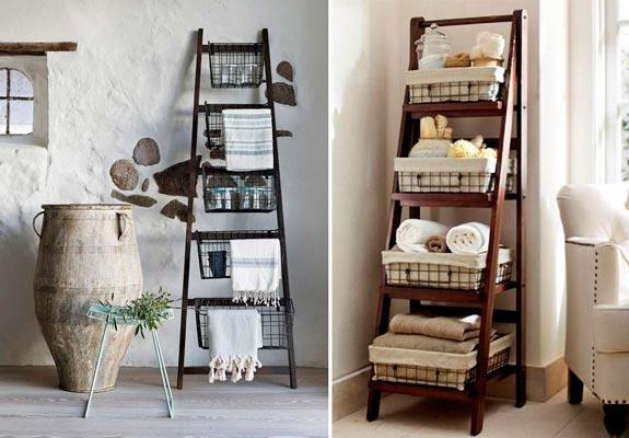 Blog de mbar muebles las estanter as escalera un diy for Estanteria bano toallas