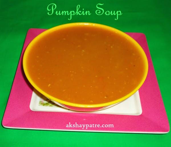 Pumpkin soup ready to serve - preparing pumpkin soup recipe