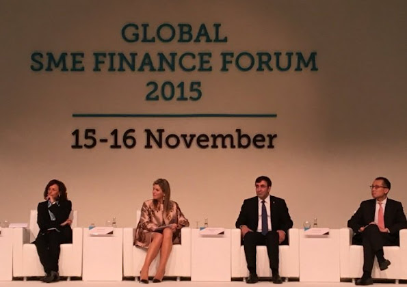 "Queen Maxima of the Netherlands attends the official opening of the ""Global SME Finance Forum 2015"" on November 15, 2015 in Antalya, Turkey."