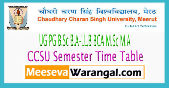 CCSU UG PG B.Sc B.A-LL.B BCA M.Sc M.A Semester Time Table 2017
