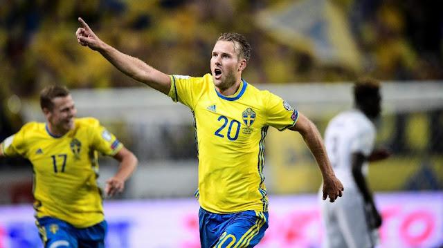 Gol dari Tengah Lapangan di Injury Time Menangkan Swedia atas Prancis