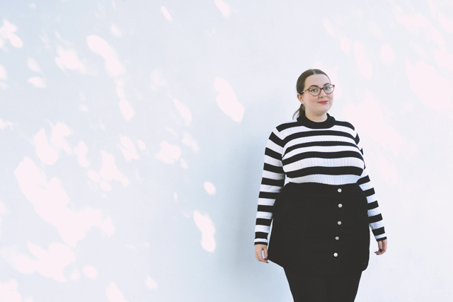 plus size striped jumper a-line skirt