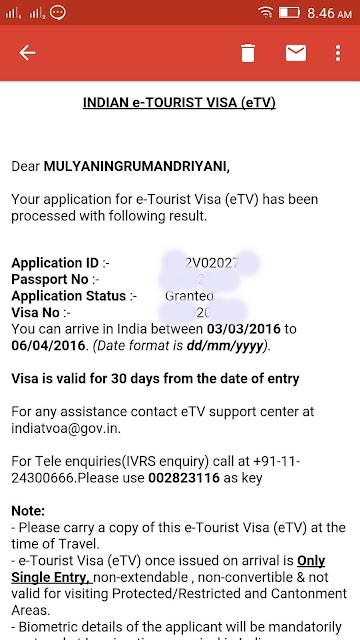 Syarat mengurus Turis Visa India