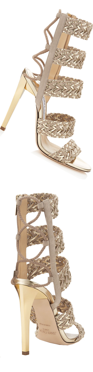 immy Choo Lima 110 Suede and Light Champagne Caged Sandal
