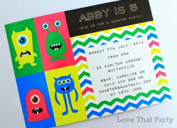 Little Monster Party Printable Invitation by Love That Party. Shop now at http://lovethatparty.bigcartel.com/product/little-monster-party-printable-invitation-digital-file
