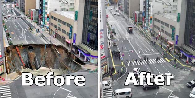 Sinkhole Besar Muncul Di Jepang, Dan Hilang 48 Jam Kemudian