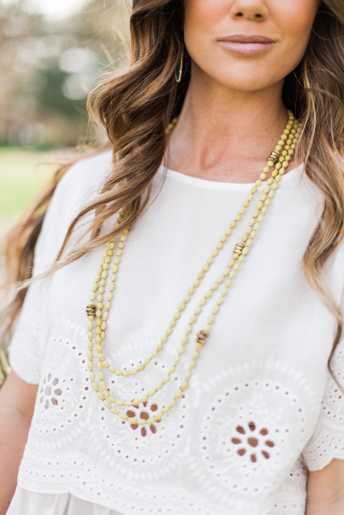 KBStyled: akola beaded necklace white top giani bini top