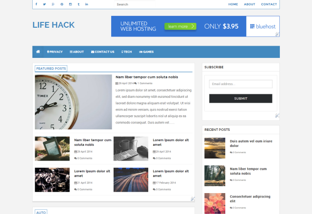 Lifehack Is A Customized Blogger Template And Built Using Twitter Bootstrap 3 Its Fully Responsive Magazine Best Suited For Magazines