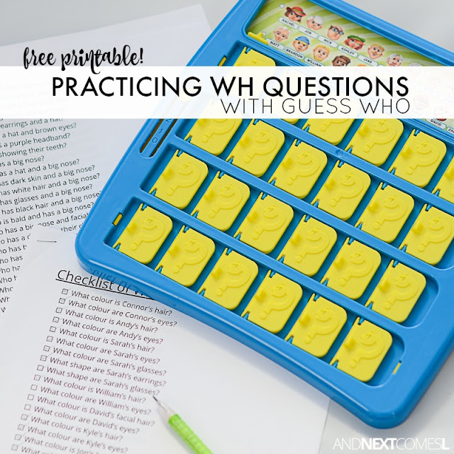 Free printable WH questions for kids with autism or hyperlexia to practice using the game Guess Who from And Next Comes L