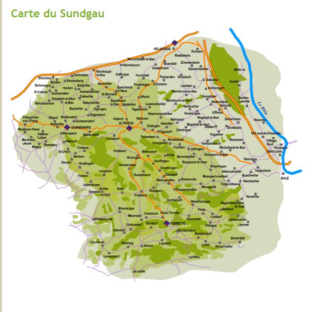 Carte Alsace Sundgau.En Alsace Le Sundgau