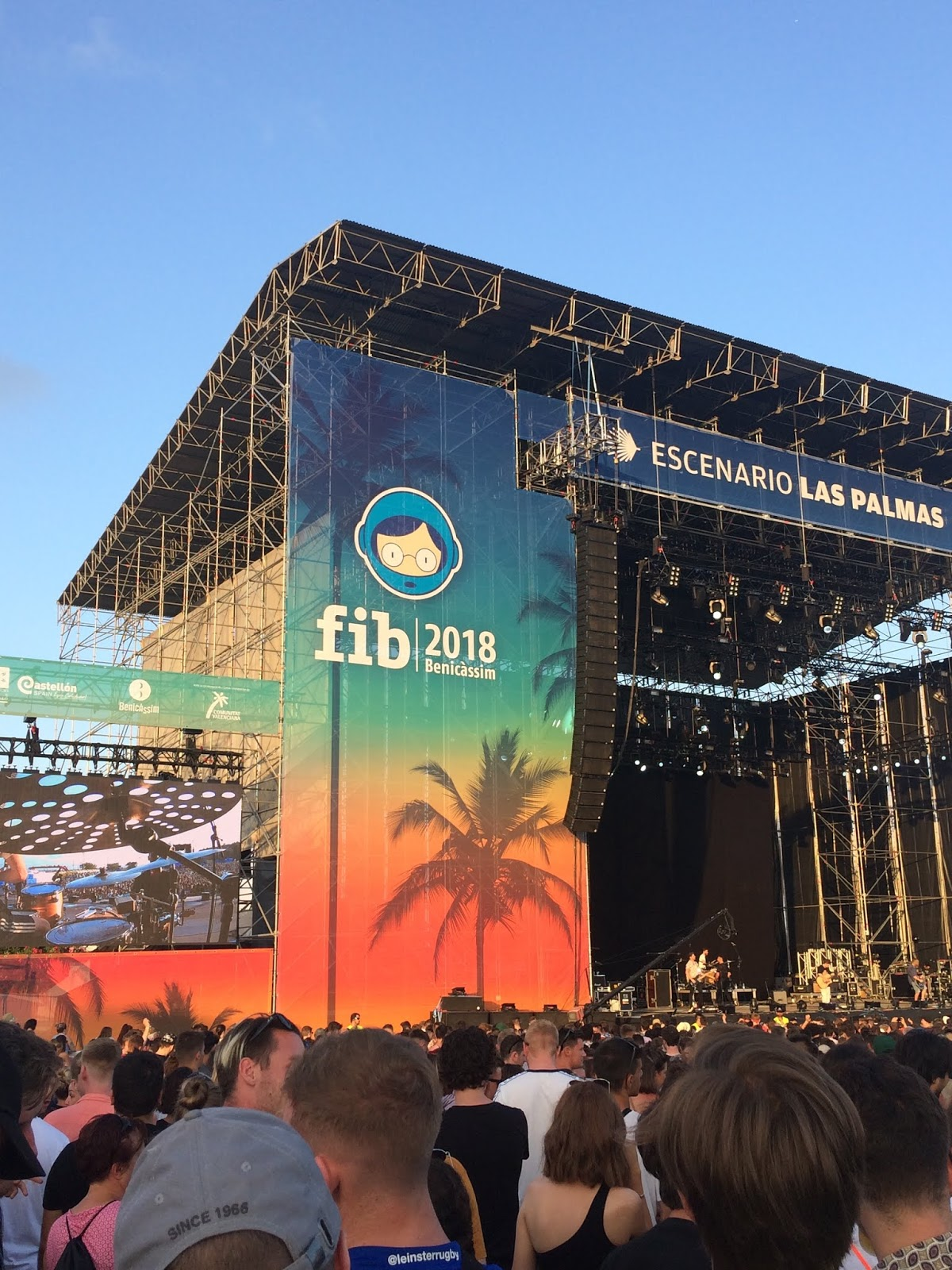 FiberFib stage at Benicassim Festival with blue skies in the background