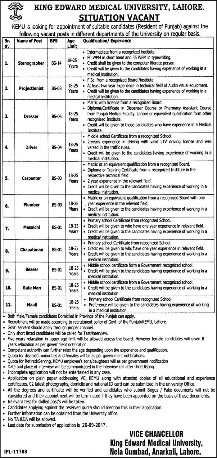 jobs in King Edward Medical University Lahore sep 2017