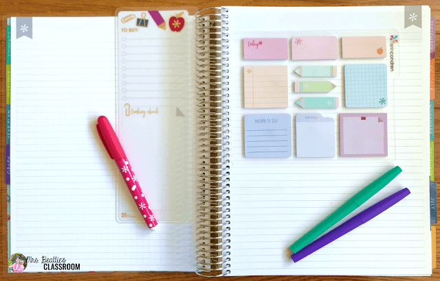 Photo of Erin Condren Teacher Planner notetaking pages with accessories