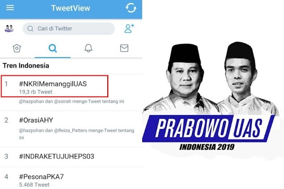 Tagar #NKRIMemanggilUAS Jadi Trending Topik No.1 Twitter Indonesia