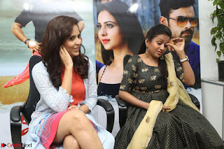 Actress Suma in Black Salwar Suit and Anusuya in orange Dress at winner movie press meet part 2 February 2017 (13).JPG