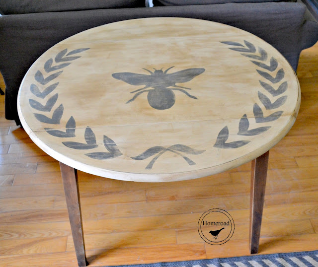 bee and wreath drop leaf table with wings open