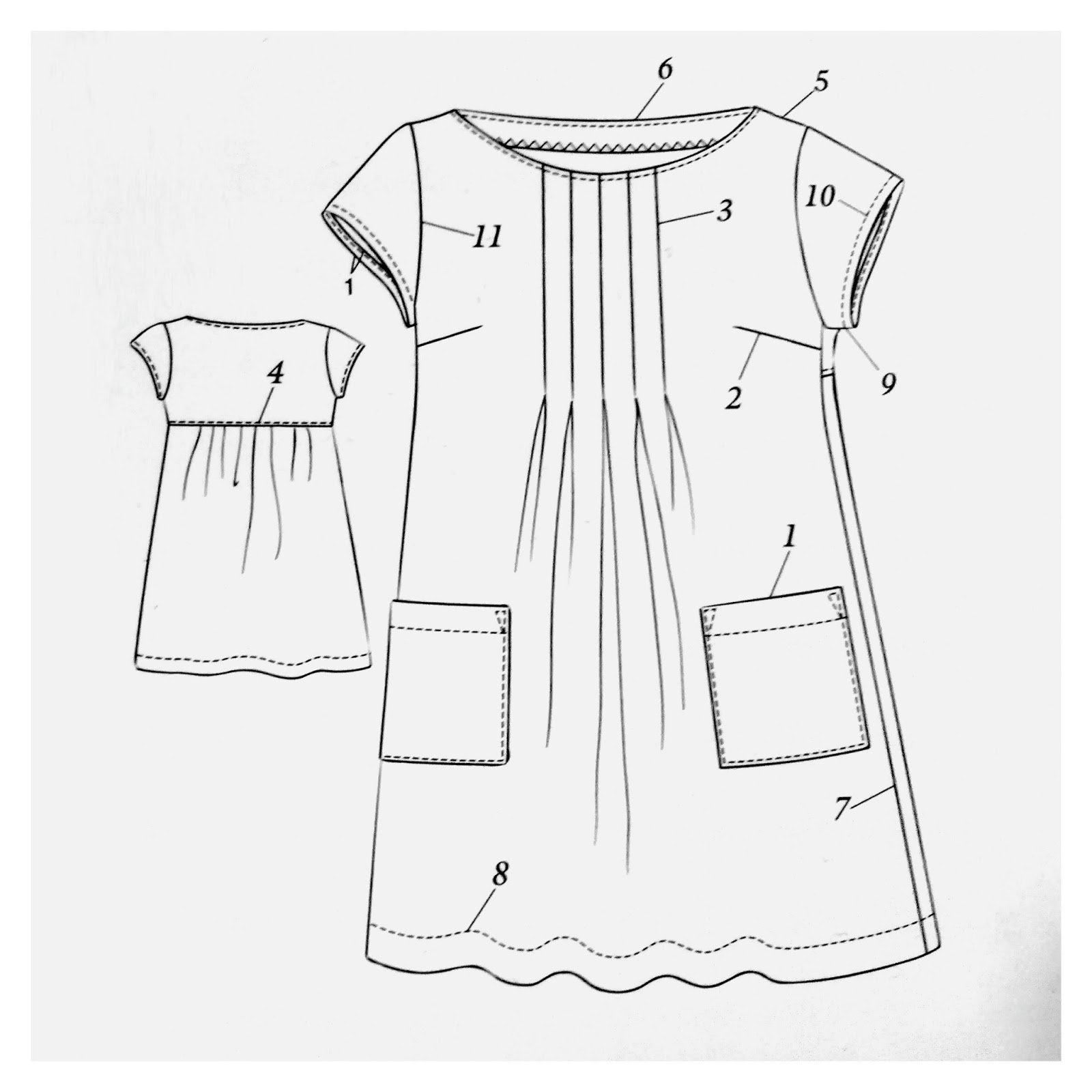 Dress with front pleats: Stylish Dress Book 1 illustration