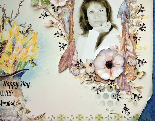 Mixed Media Page by Denise van Deventer using the BoBunny Serendipity Collection and Pentart Pearl Stencil Paste